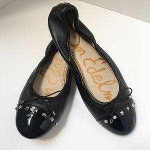 Sam Edelman Black with Studs and Bow Flats 9.5